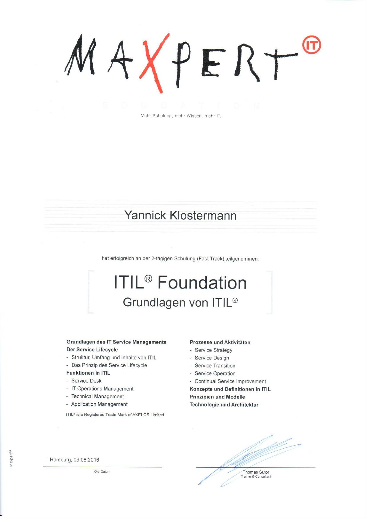 Itil Certification Sector Nord Ag